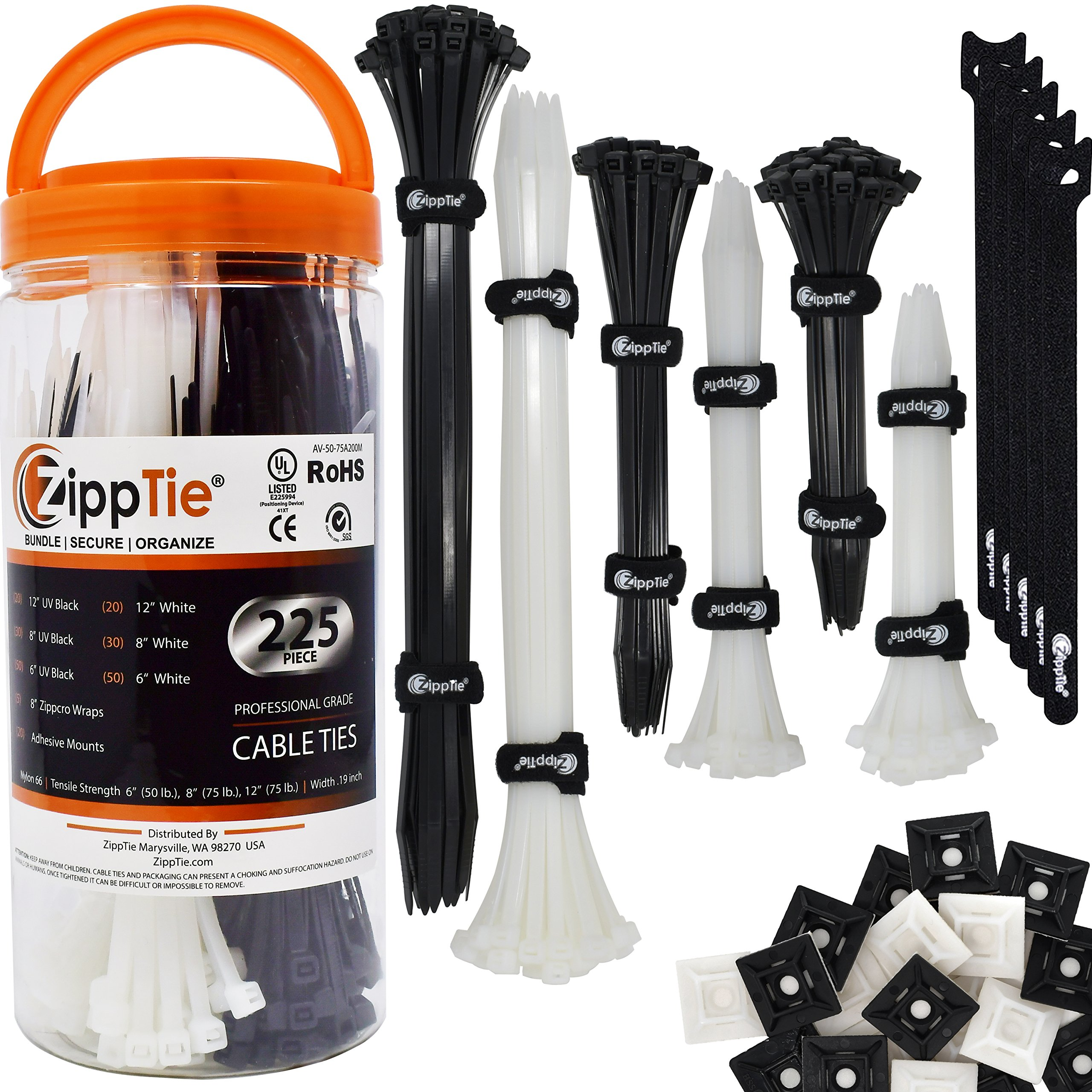 Cable Ties by ZippTie | 225pc Cable Management Kit 6'', 8'', 12'' White & UV Black Heavy Duty (Zip Ties) 50lb & 75lb | Includes 20 Adhesive Base Mounts and 5 Reusable ZippCro Wraps