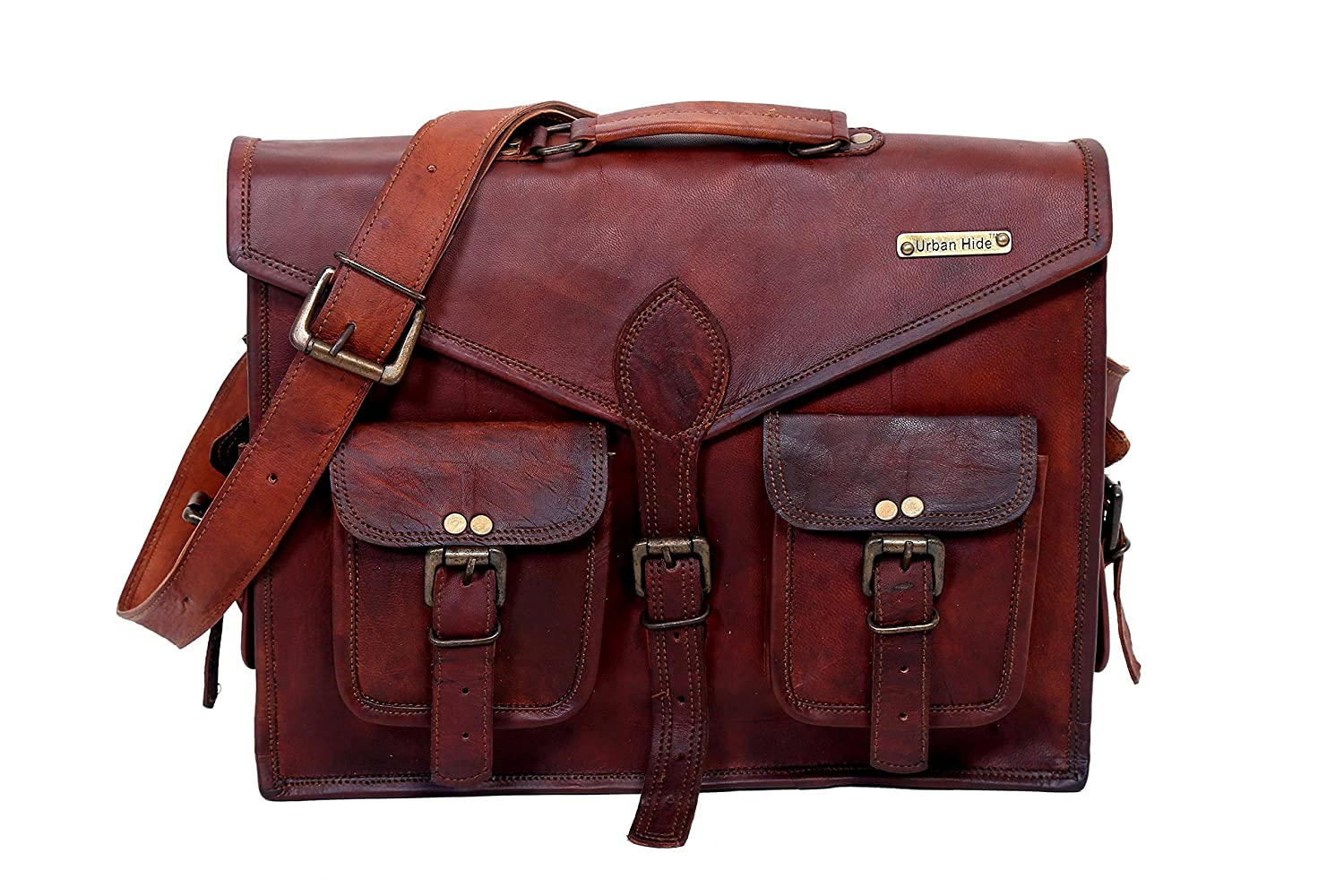 Urbankrafted Beautiful Handmade Men's Distressed Leather Messenger Laptop Case Shoulder Bag