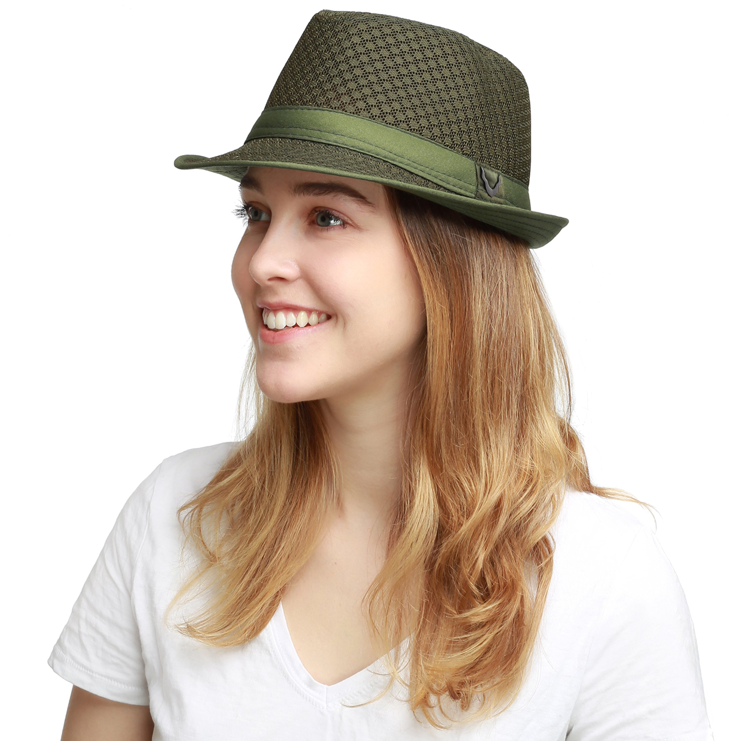 Black Horn Light Weight Classic Soft Cool Mesh Fedora hat (L/XL, Olive)