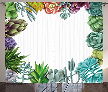 Amazon.com: Succulent Curtains by Ambesonne, Frame with Various ...