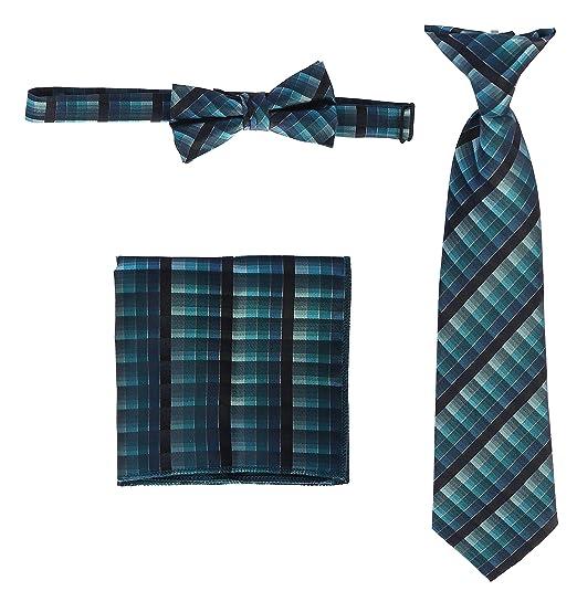 abea0dea1c78 Gioberti Kids and Boys' Plaid Tie, Bow Tie and Handkerchief Set, Teal Green