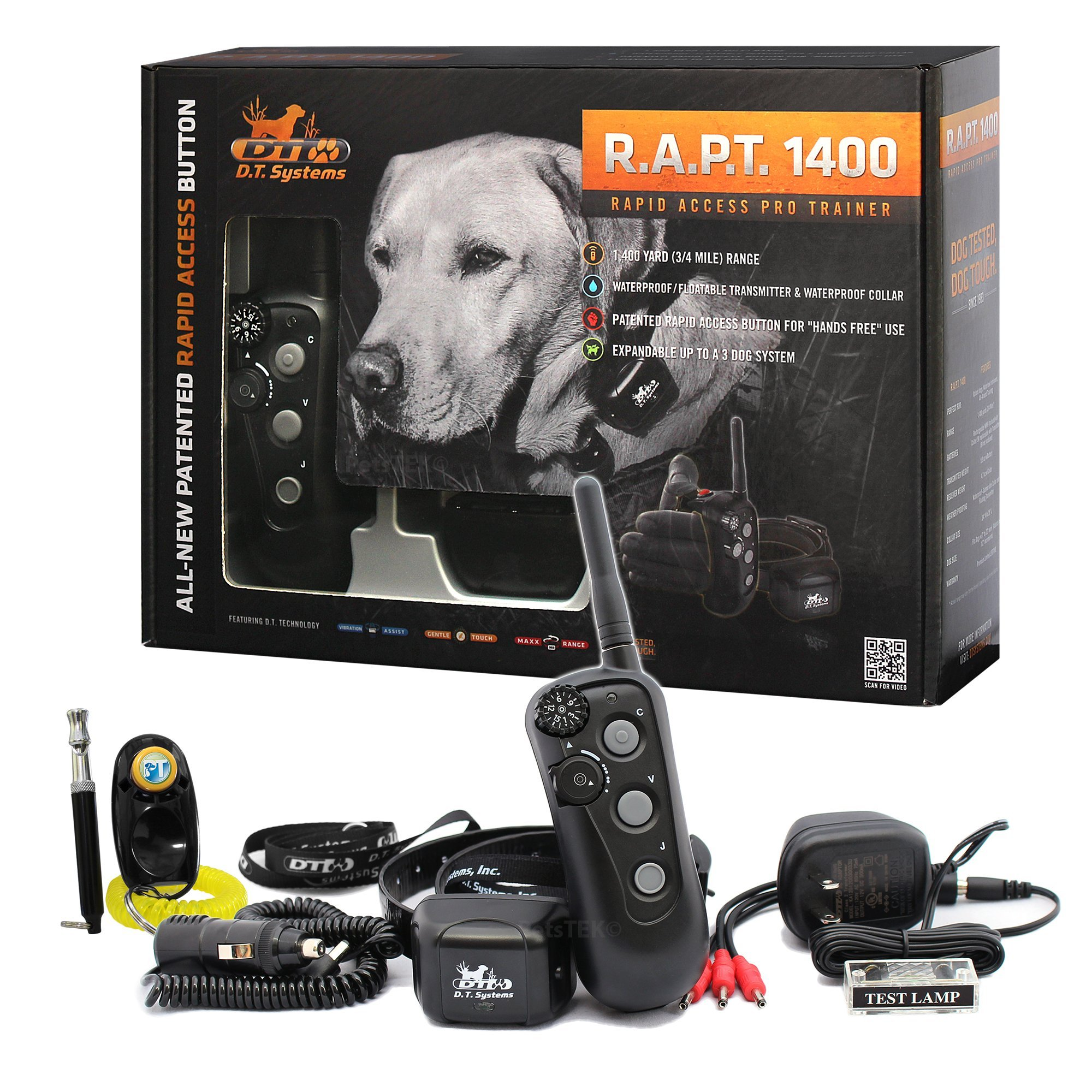 D.T. Systems - R.A.P.T 1400 Series Remote Control Dog Training Electric Shock Collar System with PetsTEK Clicker and Whistle Training Kit by DT Systems