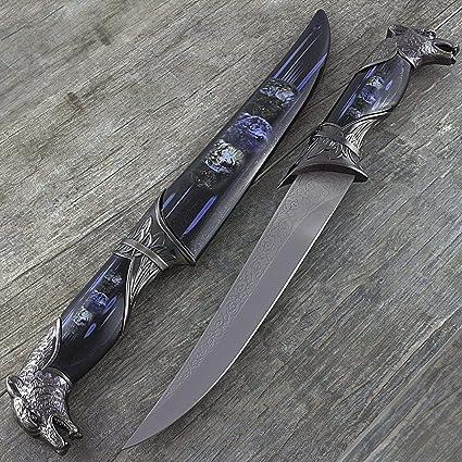 Amazon.com: Cuchillo de cuchilla fija con chapa de acero ...