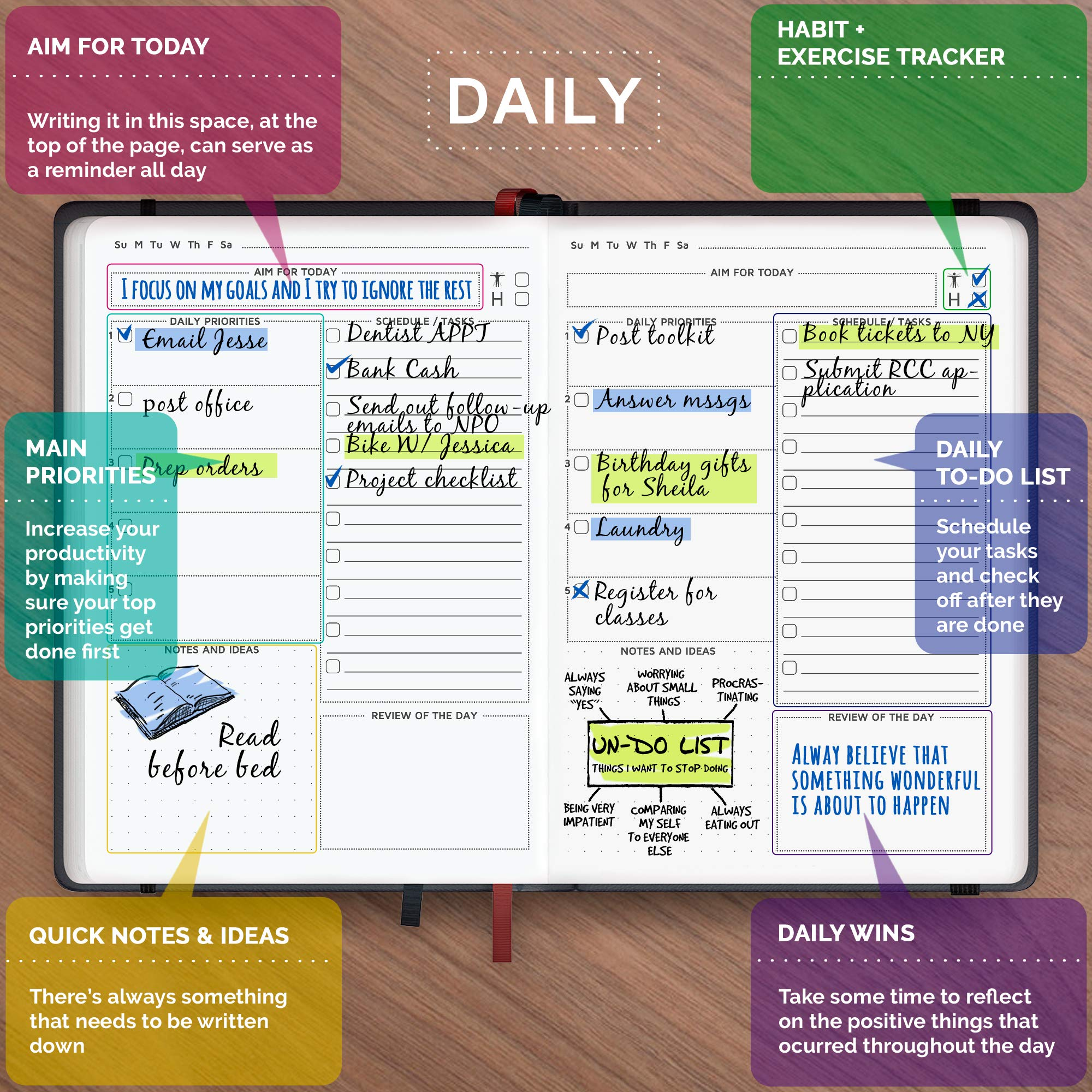 Cossac Planner 2018 - Best UNDATED Daily Planner to Boost Productivity, Hit Your Goals & Reach Happiness, Agenda Day Planner (A5)