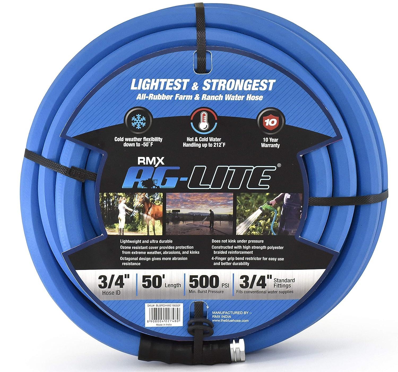 """BluBird AG-Lite Rubber Hot & Cold Water Rubber Garden Hose: Ultra-Light & Super Strong(3/4"""" x 50')- BSAL3450"""