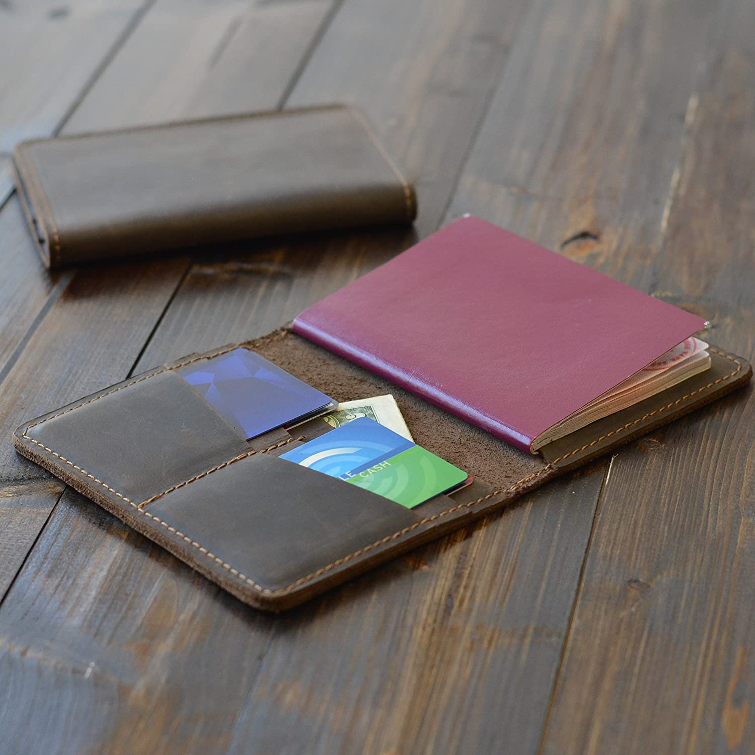Pegai Distressed Leather Passport / Travel Wallet - Pike Chestnut Brown