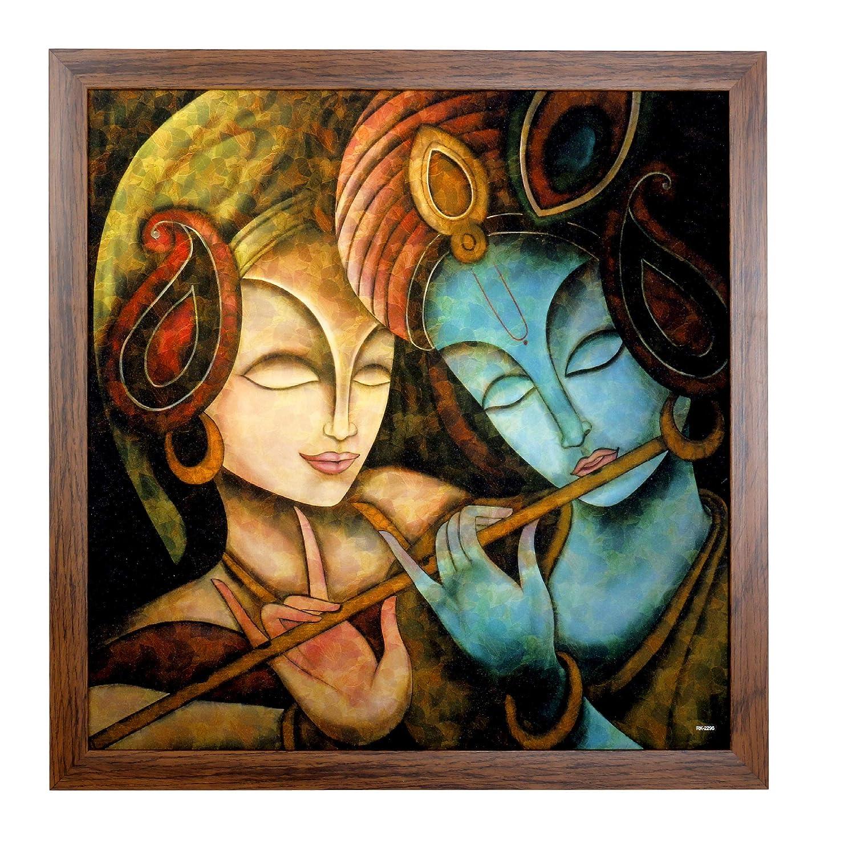 Dmt art automation framed radha krishna painting synthetic without glass radhakrishna framed painting 22x22 inch with photo frame wall photo frame god