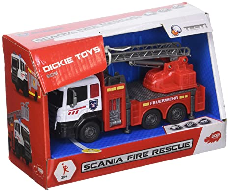 Dickie Toys 203712013 Scania Fire Rescue Coche de Bomberos con Cabina de Metal y piñón Libre