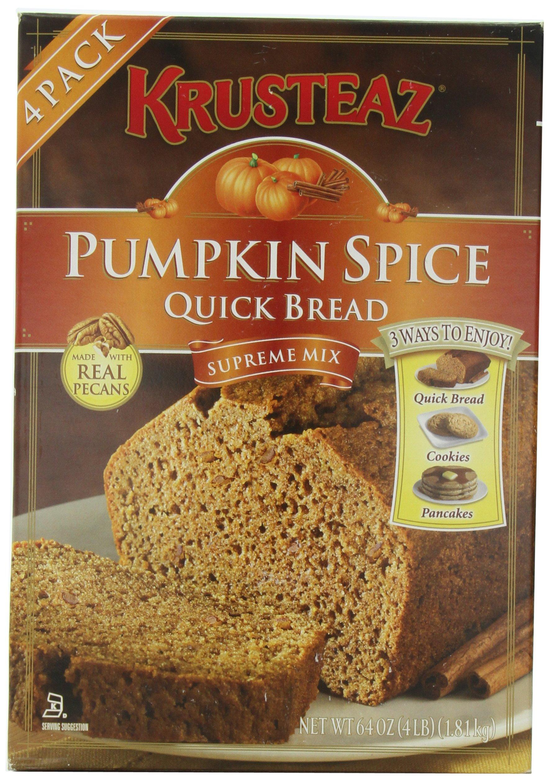 Pumpkin Spice Bread Quick Bread - Krusteaz Quick Bread Supreme Mix, NET WEIGHT 64 oz. (FOUR 1 lb MIX PACK)