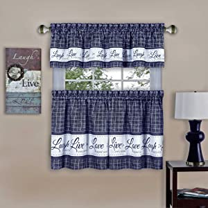 """Achim Home Furnishings Achim Home Imports Live, Love, Laugh Window Curtain Tier Pair and Valance Set, Pair & Valance 58"""" x 24"""", Navy"""