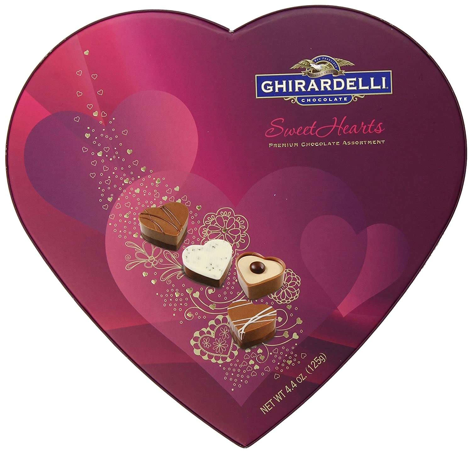 Amazon.com : Ghirardelli Valentines Day Sweethearts Heart Shaped ...