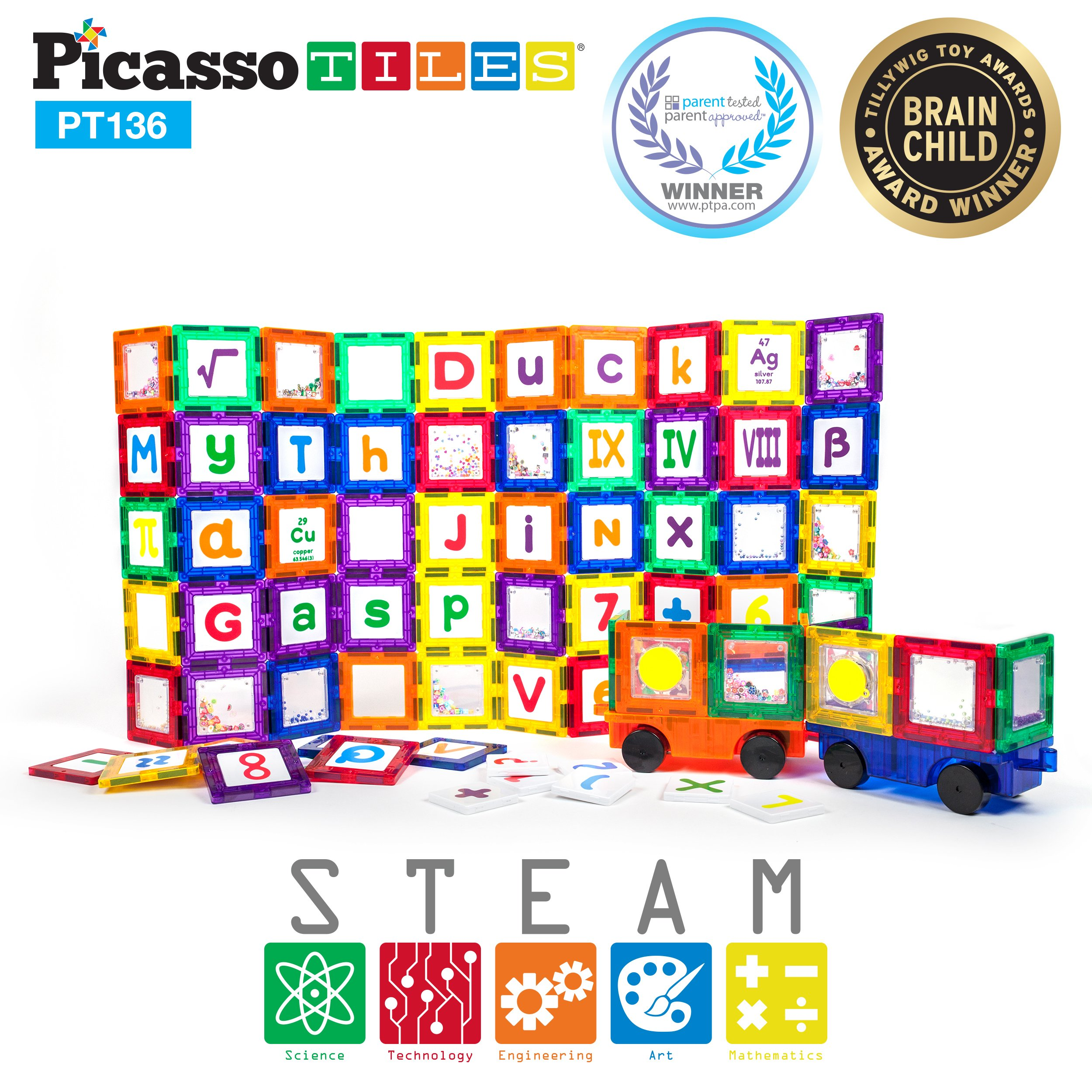 PicassoTiles 136 Piece S.T.E.A.M. Building Block Set with 66 Magnetized Clip-in Insert Cards Toy Construction Kit PT136 Magnet Building Tiles Clear Color Magnetic 3D Educational Blocks Click-in Card