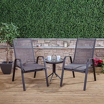 Textoline Garden Furniture Round aluminium textoline garden furniture bistro set brown round aluminium textoline garden furniture bistro set brown workwithnaturefo