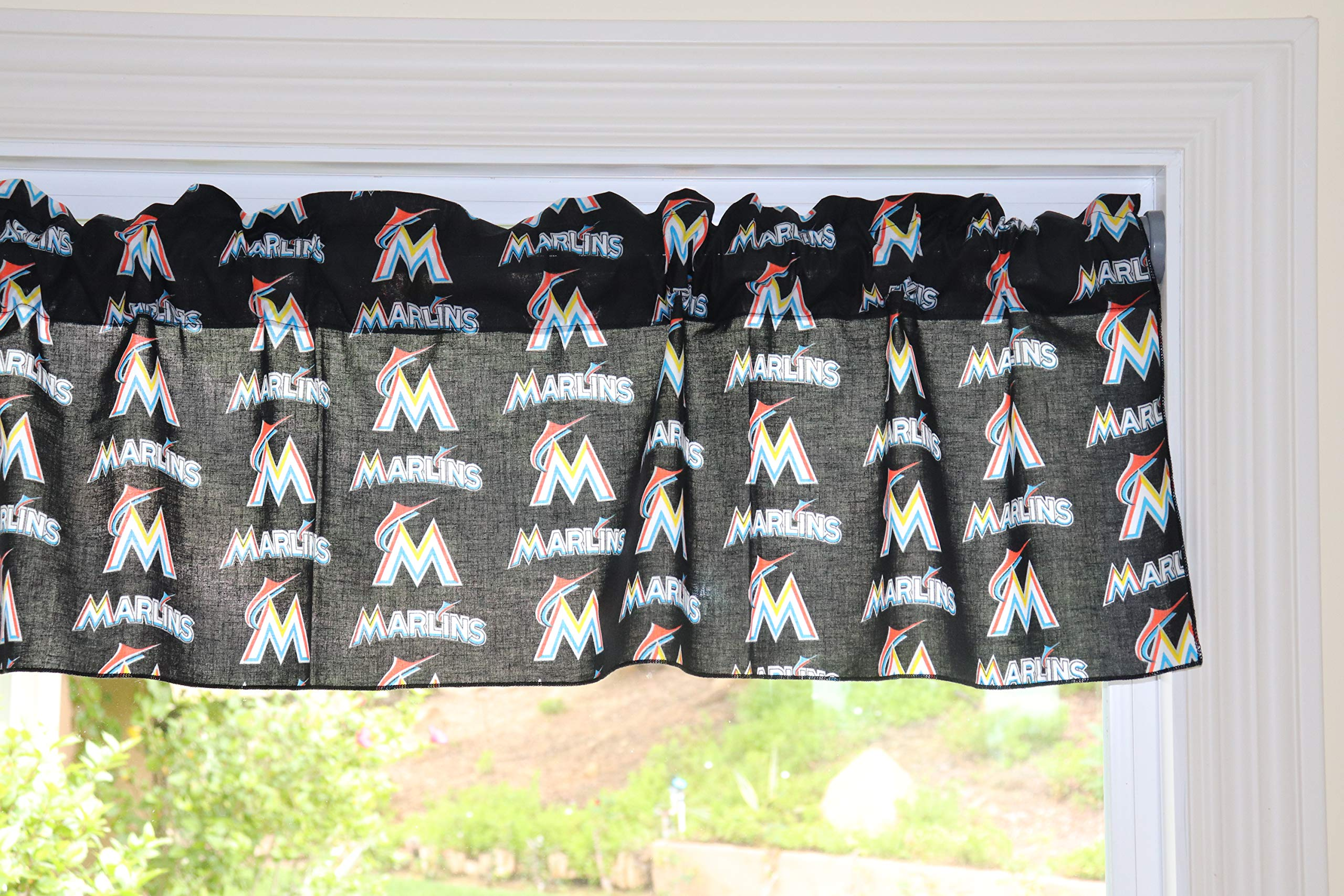 lovemyfabric Baseball Cotton Window Valance 100% Cotton Print MLB Sports Team Miami Marlins Events Kitchen Dining Room Bedroom Window Decor (58'' Wide) (14'' Tall) by lovemyfabric