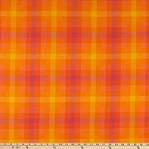 Andover & Makower Andover Kaleidoscope Stripes Plaid Fabric, Marmalade