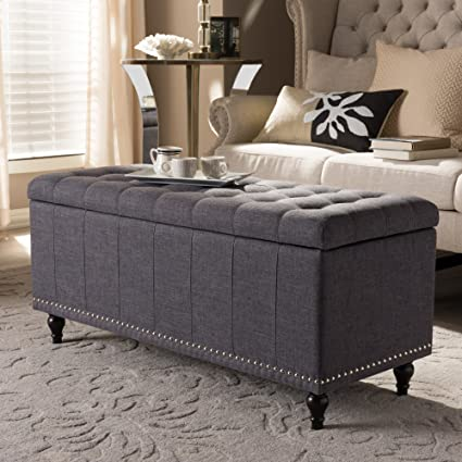 Sensational Baxton Studio Kaylee Storage Bench In Dark Gray Ocoug Best Dining Table And Chair Ideas Images Ocougorg
