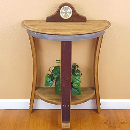 Half Moon Wall Table   Wine Barrel Handcrafted   Central Coast Creations    Wine Barrel Furniture