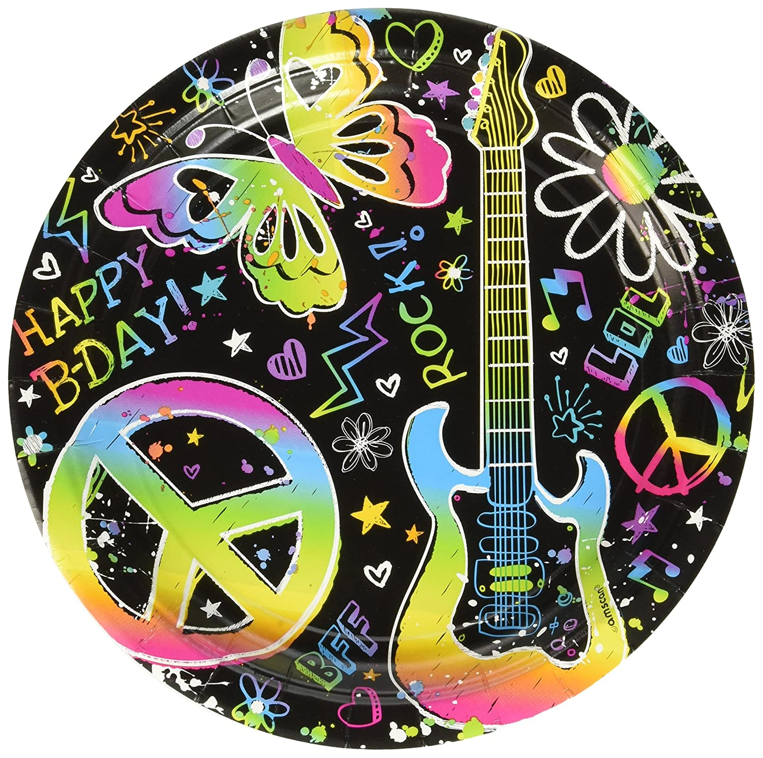 8 Pack Multicolor 9 amscan Groovy Neon Doodle Birthday Party Lunch Paper Plates Disposable Tableware