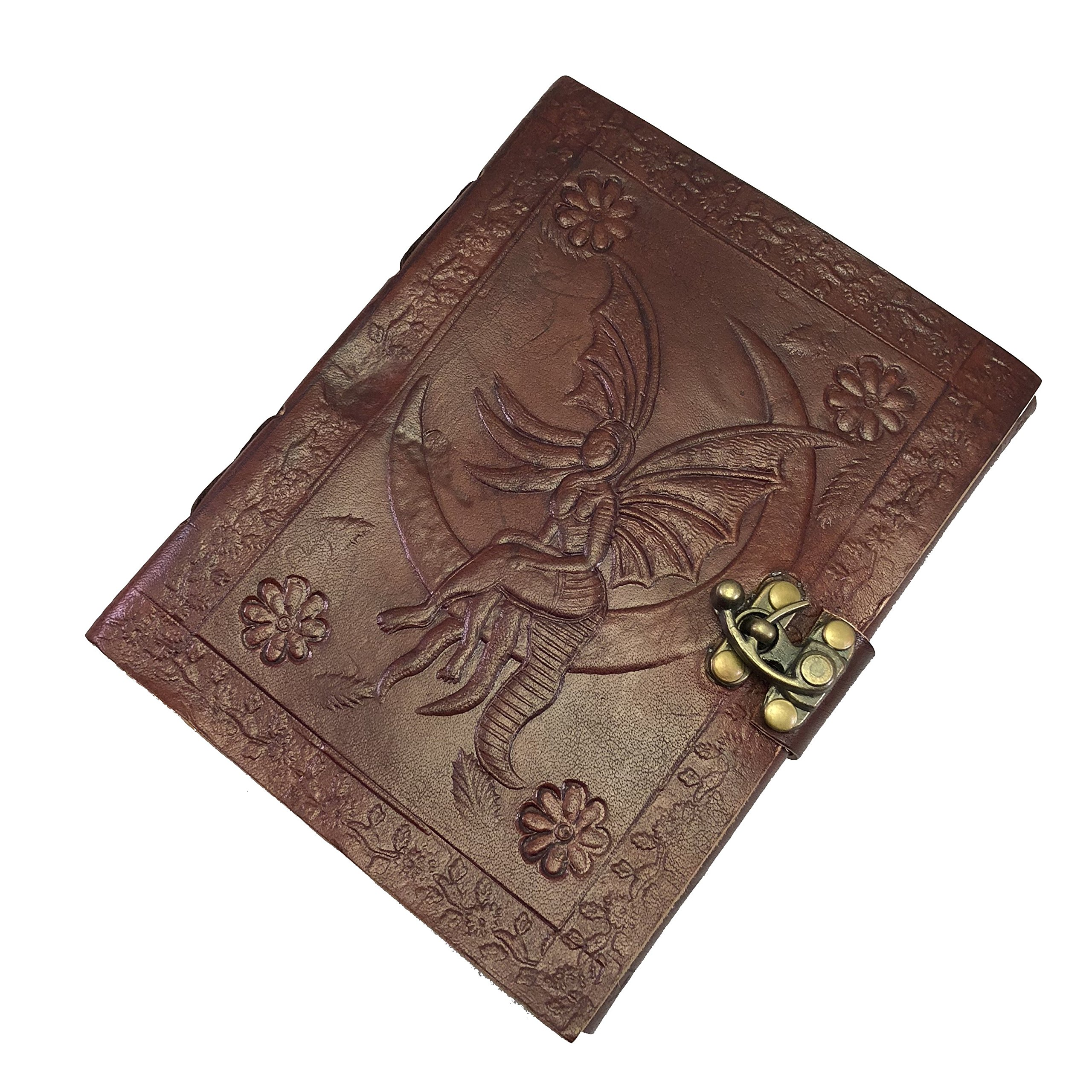 Genuine Leather Journal Fairy on the Moon - Handmade Real Leather Bound Book - Recycled Paper – Vintage Style For Creative Writing, Sketching, Dream Diary or Travel Journaling – Fairy Gift Idea 5 x 7''
