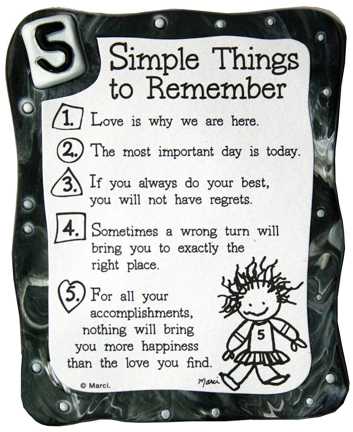 Sculpted Magnet Five Simple Things to Remember 3.0 x 3.5