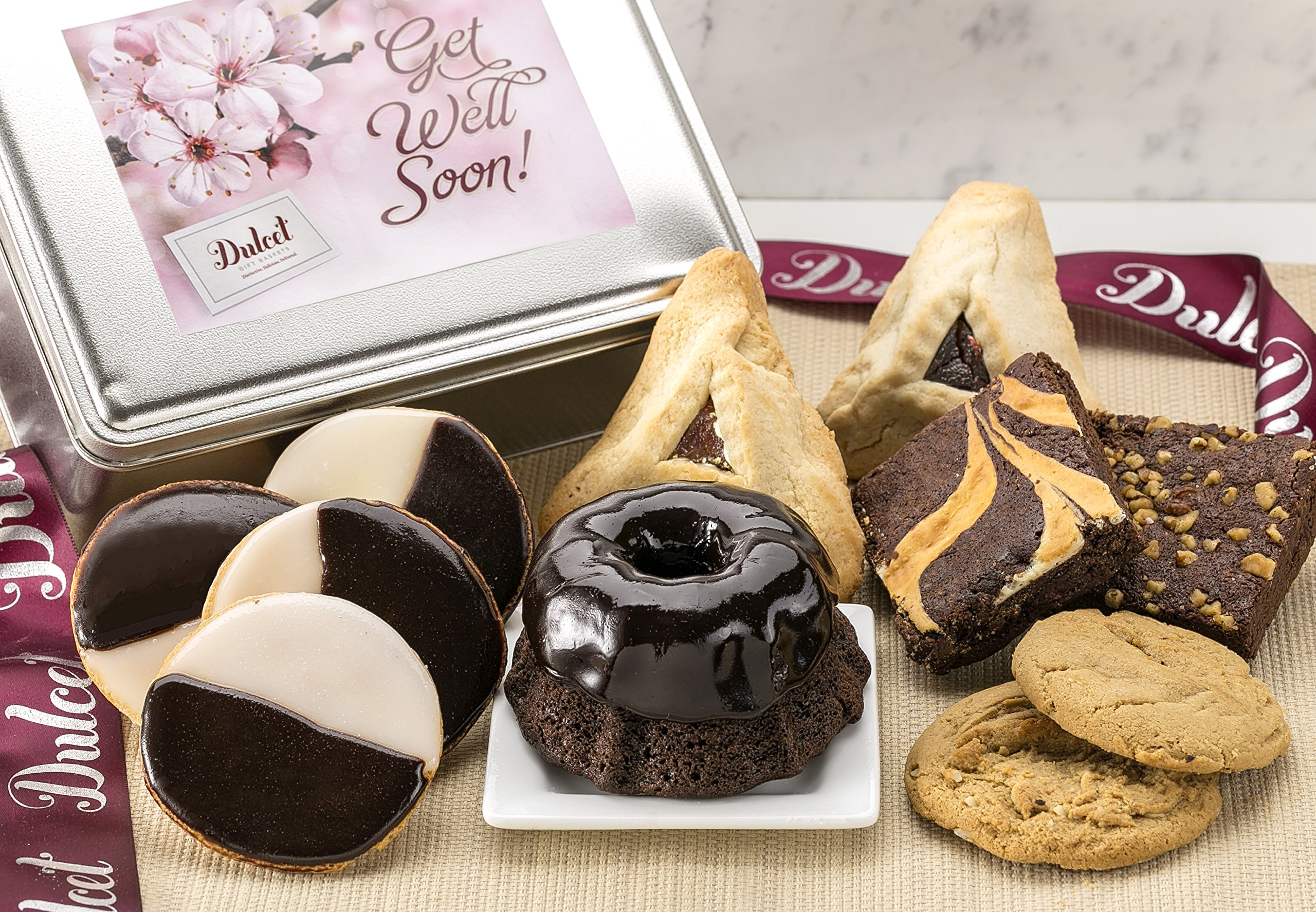 Dulcet Gift Basket Get Well Soon Classic Baked Goods Recovery Snack Care Package, Idea For Men Women Him & Her.