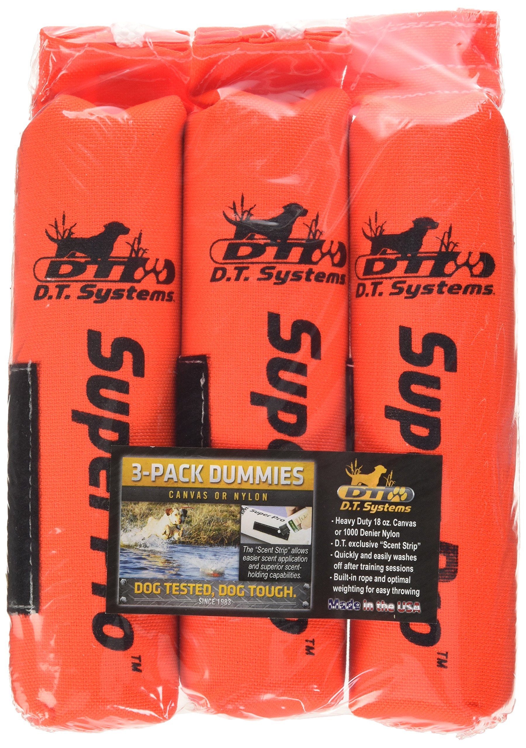 D.T. Systems Cordura Nylon Dog Training Dummy, Blaze orange, Small, 2-Inch by 9-Inch 3 Pack by D.T. Systems (Image #1)