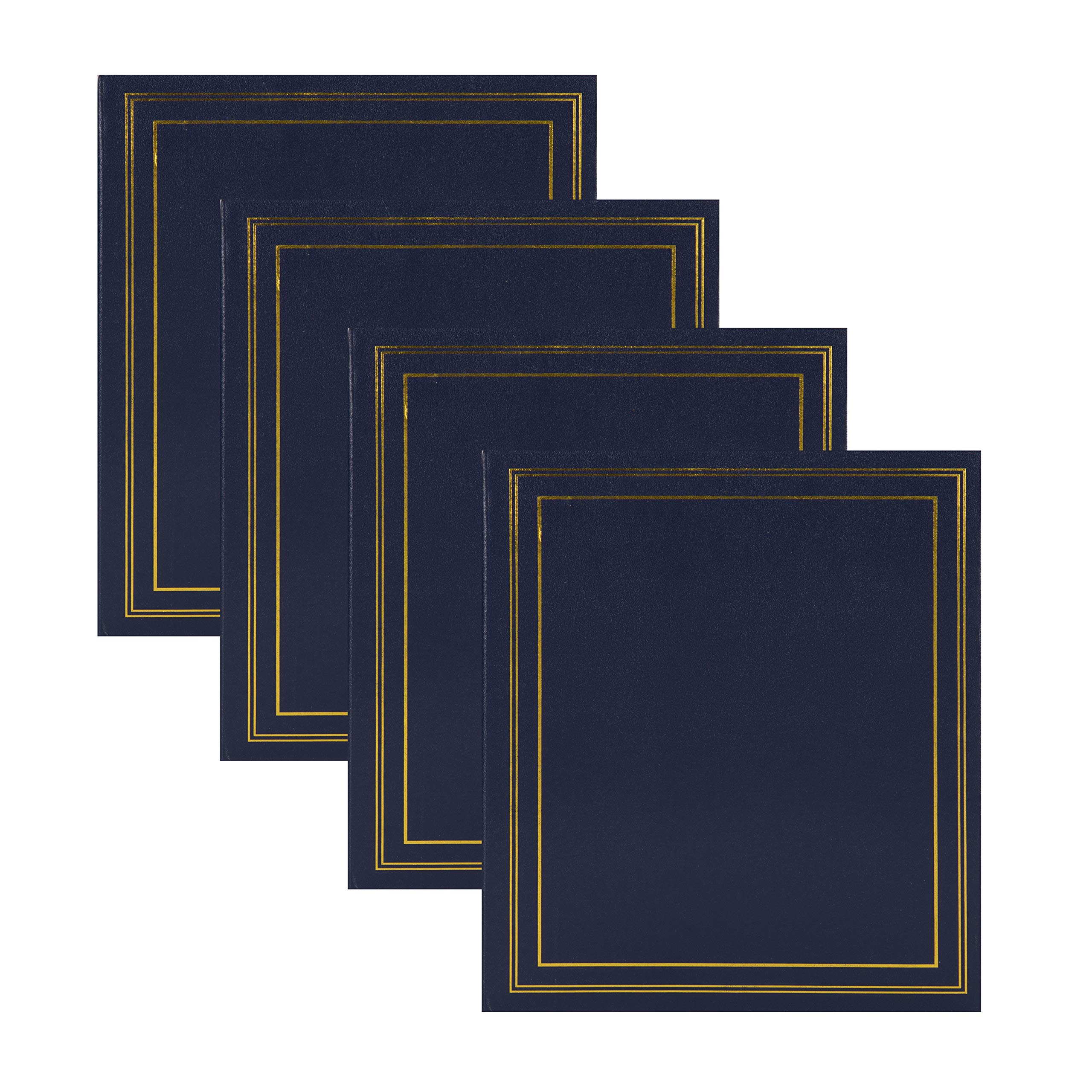 DesignOvation Traditional Photo Albums, Holds 440 4x6 Photos, Set of 4, Navy Blue