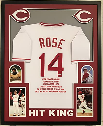 2be395b05 Image Unavailable. Image not available for. Color  Pete Rose Autographed  Custom Framed Cincinnati Reds Jersey  4256  JSA Witnessed COA