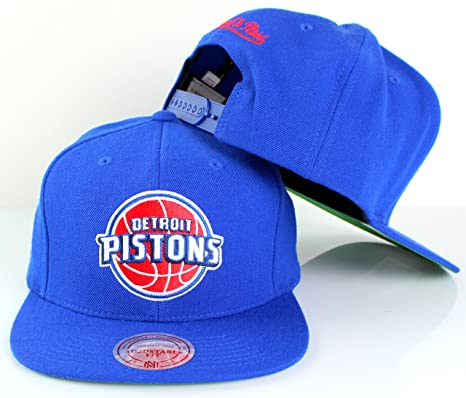 promo code 23579 c0242 Mitchell   Ness Detroit Pistons NBA Team Logo Solid Wool Adjustable  Snapback Hat (Blue)