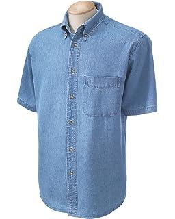 e68f351d798 Harriton Men s Long-Sleeve Denim Shirt M550 at Amazon Men s Clothing ...
