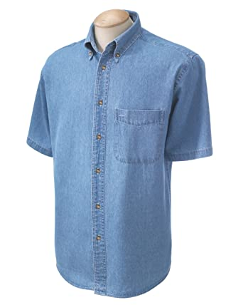 Harriton Men's Short-Sleeve Denim Shirt M550S at Amazon Men's ...