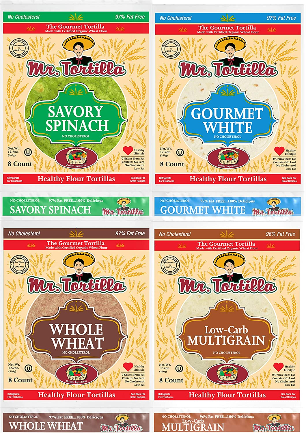 Mr. Tortilla Variety Pack - Fresh Organic Wheat Flour Tortillas - Healthy Zero Cholesterol Snack - Authentic Taste - Savory Spinach, Gourmet White, Whole Wheat, Low-Carb Multigrain - 8-Count, 4 Bags