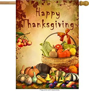 """ShineSnow Vintage Seasonal Thanksgiving Day Harvest House Flag 28"""" x 40"""" Double Sided, Polyester Autumn Fruit Vegetable Pumpkin Welcome Yard Garden Flag Banners for Patio Lawn Outdoor Home Decor"""