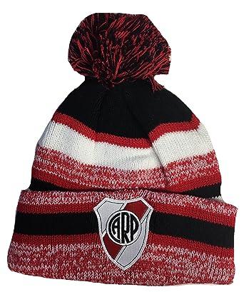 Soccer River Plate Beanie Pom Pom Hat Red Black White