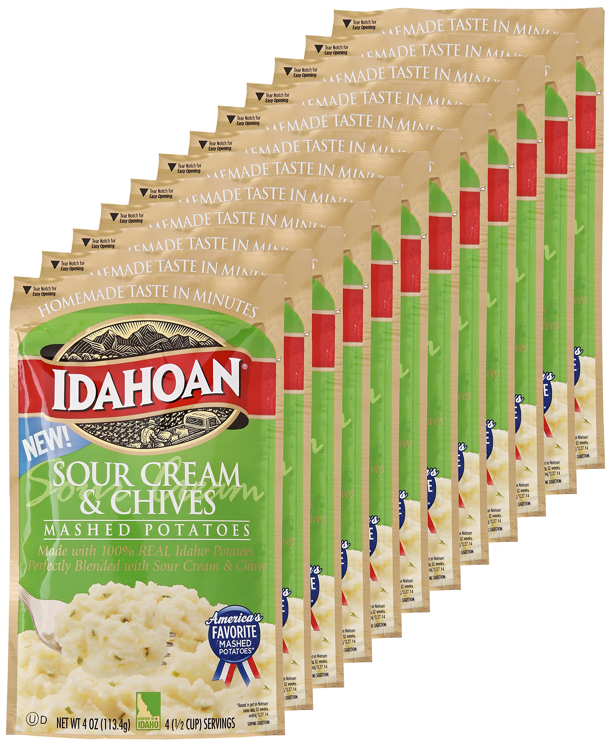 Idahoan Mashed Potatoes, Sour Cream and Chives, 4 Ounce (Pack of 12)