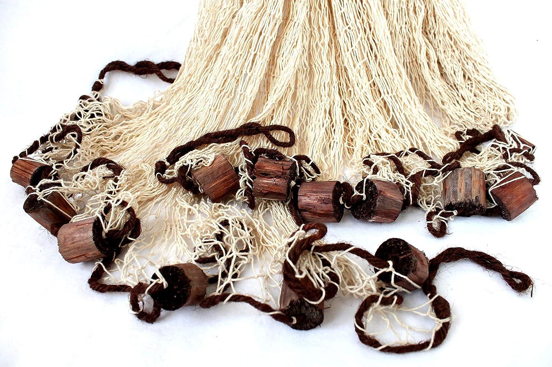 Fischernetze Rete da pesca grande in cotone con decorazioni ca 250x250cm Beige con galleggianti in legno