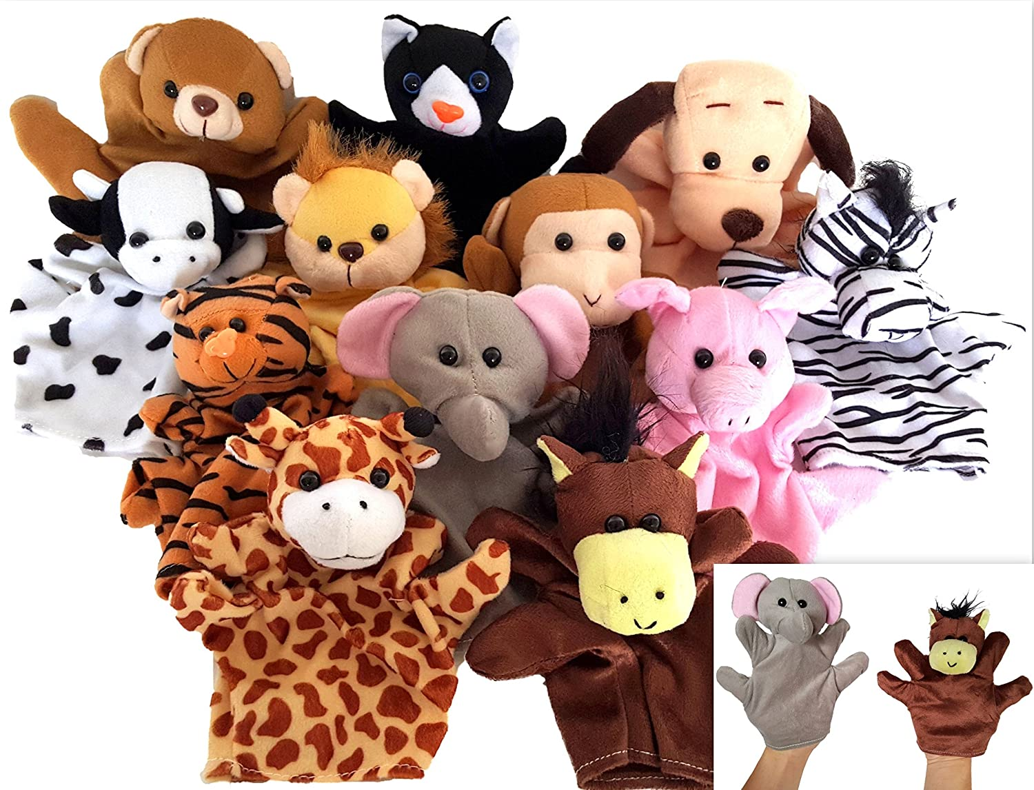 Dondor Velour Animal Finger Puppets, Soft Animal Hand Puppets For Children (1 PACK)