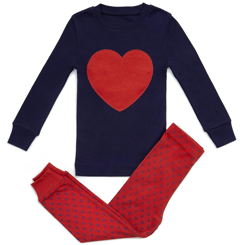 05c49cd38e2e Amazon.com  Bluenido Girls Pajamas Heart Love Pink 2 Piece 100 ...