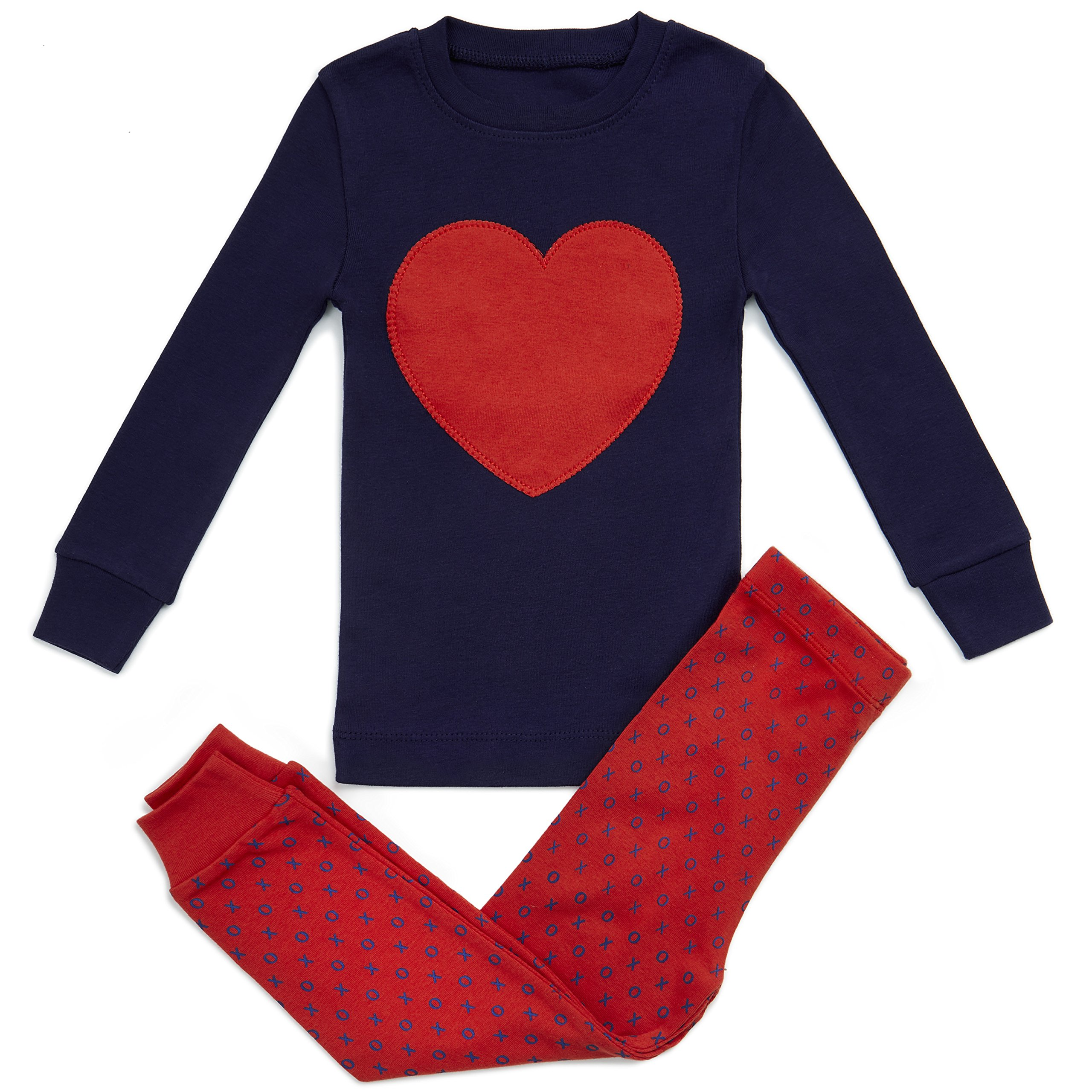 Girls Pajamas Heart Love 2 Piece 100% Super Soft Cotton (12m-8y)