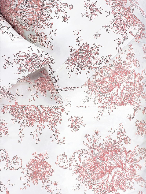 Melange Home Printed Design Cotton Collection 400TC Mauve Toile Bed Sheet Set Full