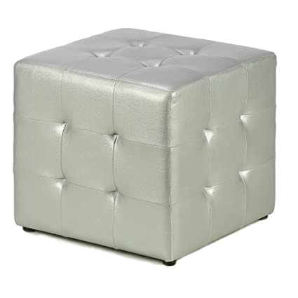 Swell Amazon Com Faux Leather Ottoman Cube Silver Metallic Cjindustries Chair Design For Home Cjindustriesco