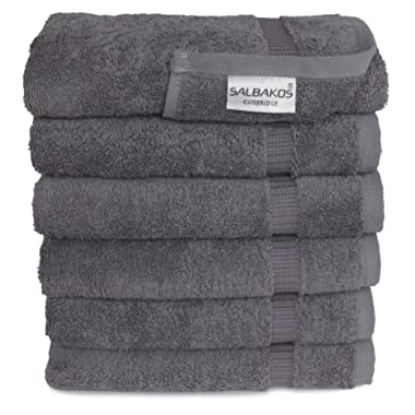 SALBAKOS Luxury Hotel & Spa Turkish Cotton 6-Piece Eco-Friendly Hand Towel Set 16 x 30 Inch, Gray