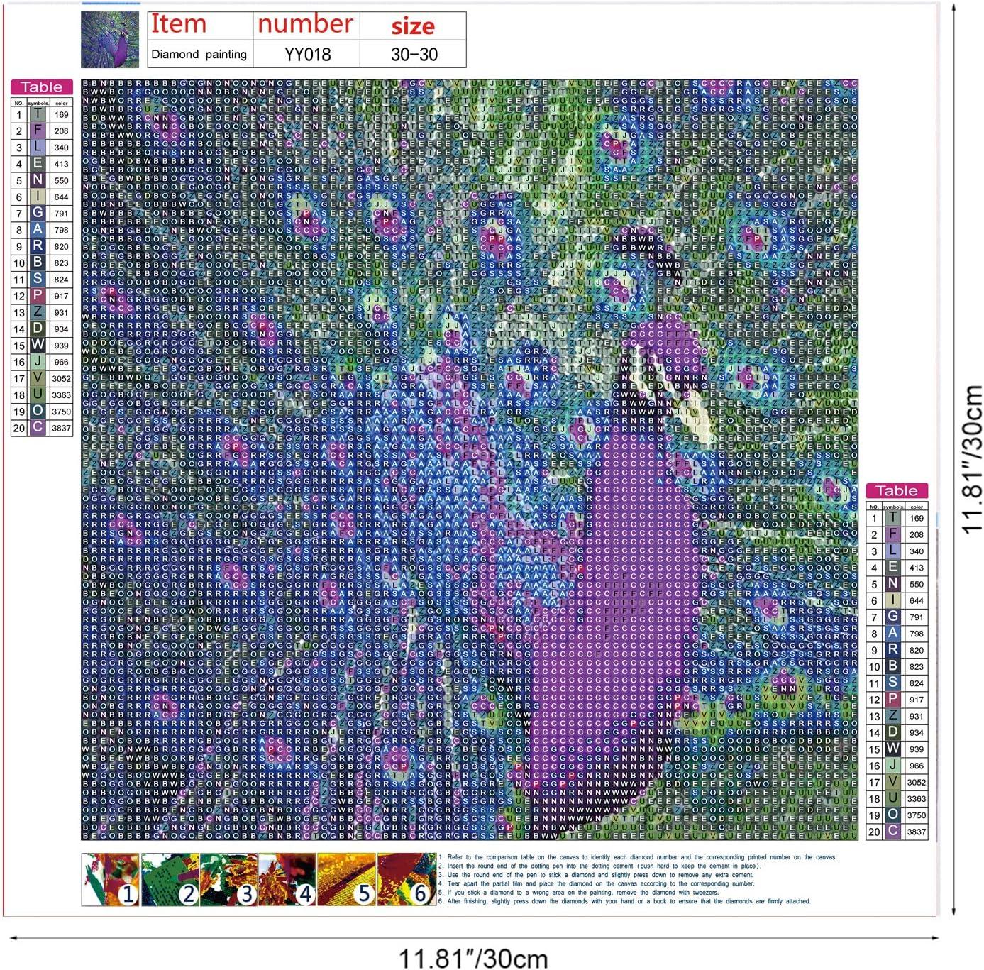 MWOOT DIY 5D Diamond Painting Ricamo a Punto Croce con Strass,Pittura Diamante 5D Fai da Te,Craft Arts per Home Parete Pittura Decor 30x30cm -Pavone
