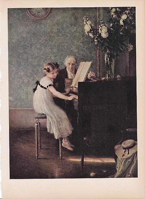 "1939 Vintage /""THE MUSIC LESSON/"" by MUENIER A GORGEOUS Color Art Plate Lithograph"