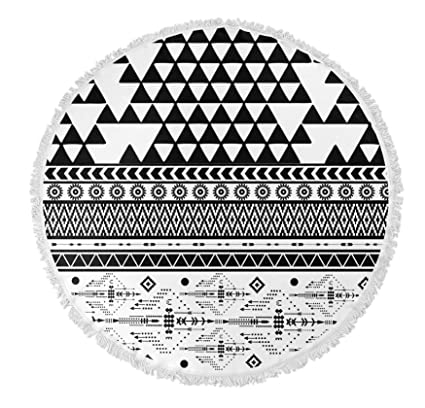 5267c4ec9 Image Unavailable. Image not available for. Color: KAVKA DESIGNS Black and  White Moroccan Round Beach Towel ...