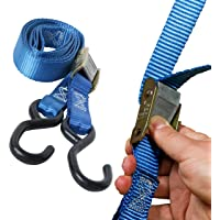 """DC Cargo Mall 2 Motorcycle Kayak Tie-Down Cam Straps 1"""" x 9' Strong TieDown Straps with Durable Polyester and Vinyl-Coated S Hooks, Tie Down Cargo 
