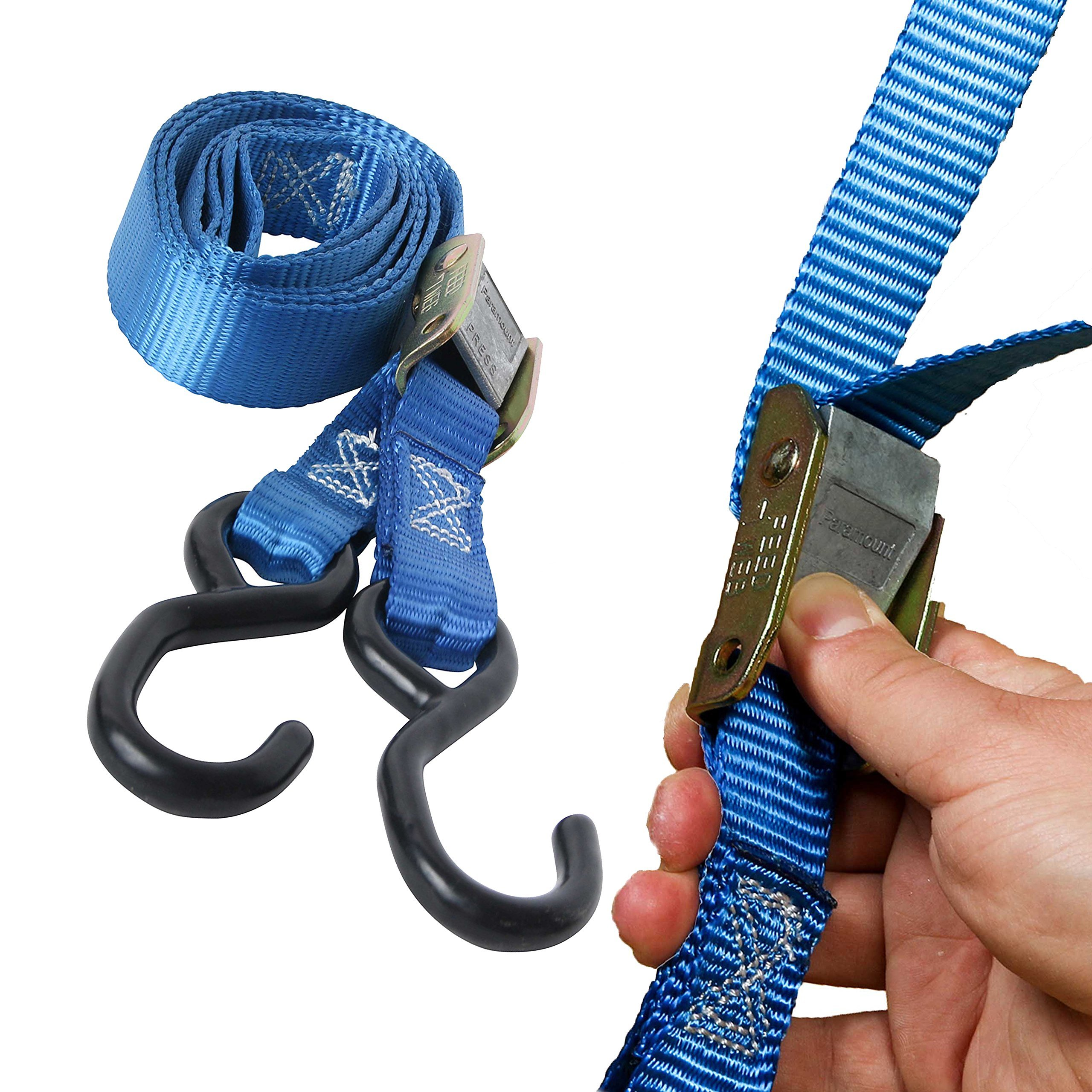 Blue PowerTye 2 x 8ft Cam Buckle Tie-Down Made in USA with Heavy-Duty S-Hooks pair