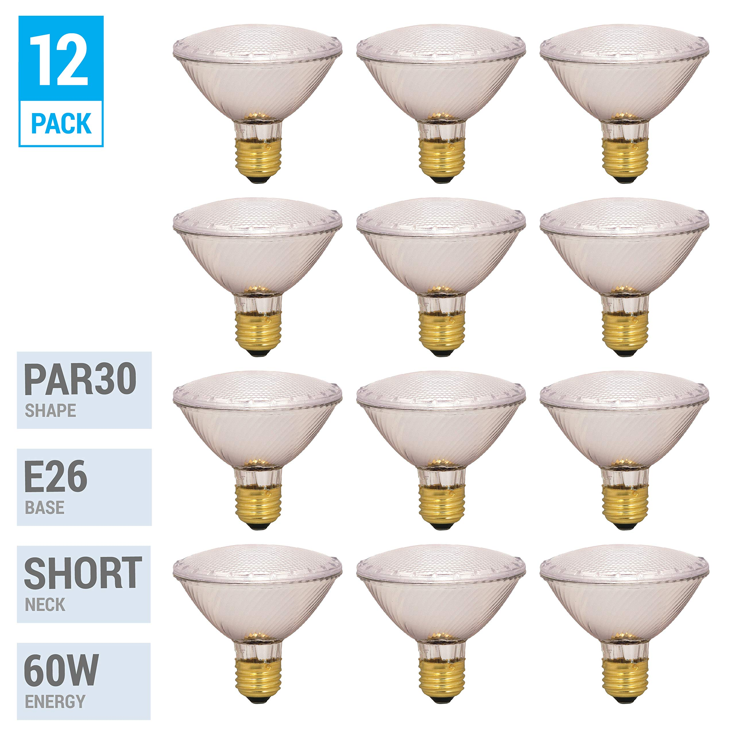 60PAR30/FL 120V - 60 Watt High Output (75W Replacement) PAR30 Flood Short Neck - 120 Volt Halogen Light Bulbs (12 Pack)