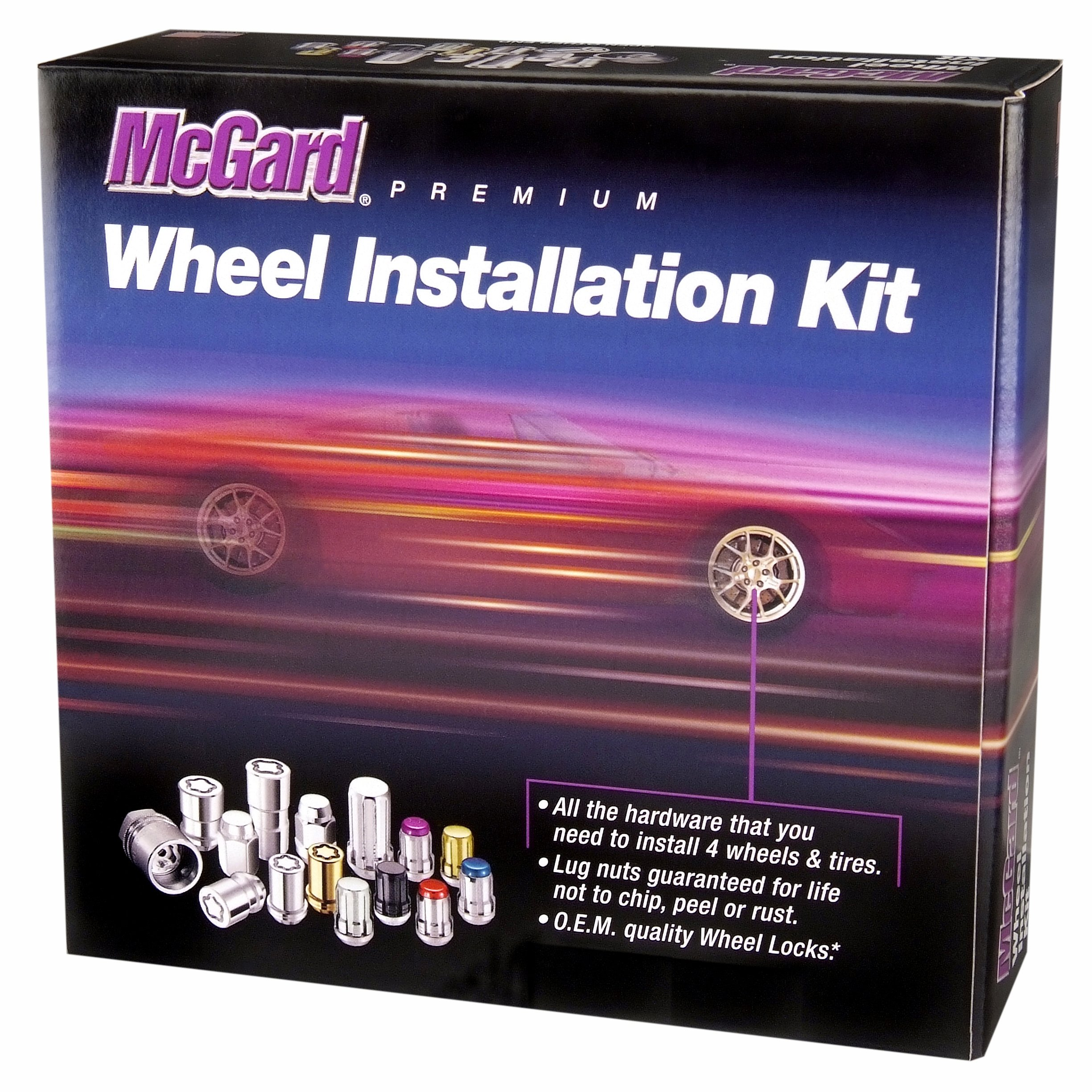 McGard 84550 Chrome (1/2''-20 Thread Size) Bulge Style Cone Seat Wheel Installation Kit for 5-Lug Wheels