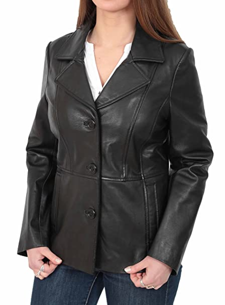 Womens Leather Blazer Coat Fitted Classic Hip Length Jacket ...